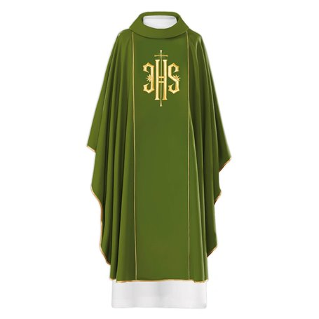 Chasuble with raised gold JHS Symbol design