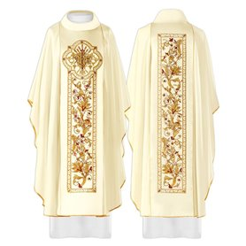 Chasuble in wool blend fabric with rich JHS design