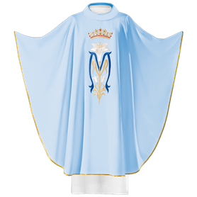 Chasuble in wool blend fabric with Marian Symbol & Crown
