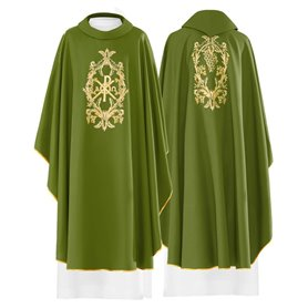 Chasuble in wool blend fabric with Chi Rho, Alpha & Omega