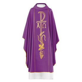 Chasuble with Chi Rho, Alpha & Omega in wool blend fabric