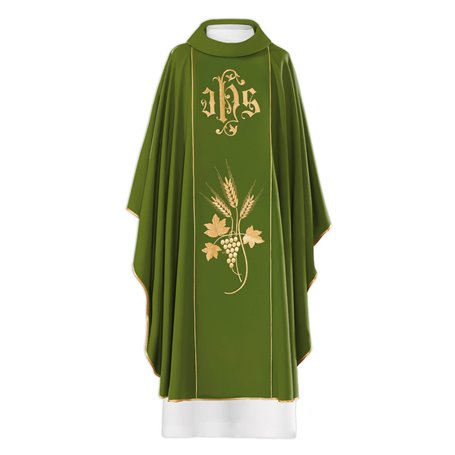 Chasuble with JHS, Wheat & Grapevine design