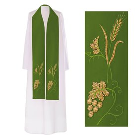 Priest overlay Stole with Wheat & Grapevine design