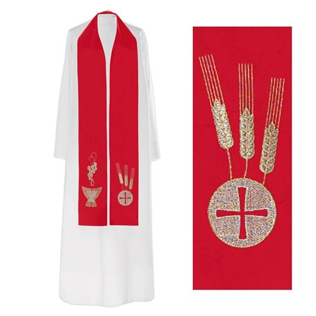 Priest Stole with Grapevine, Chalice & Host design