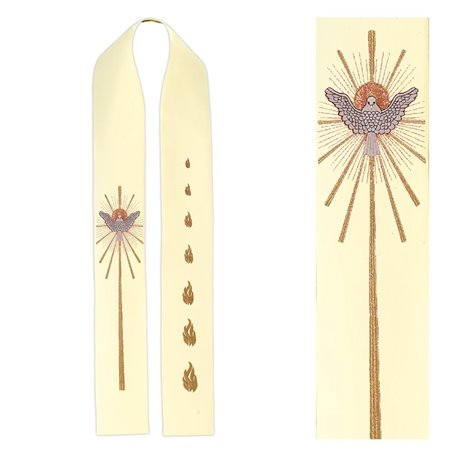 Priest stole with Holy Spirit Dove & Balls of Fire