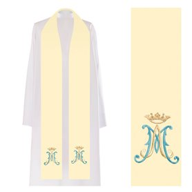 Priest Stole with Marian Symbol & Crown design