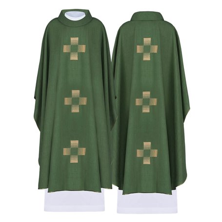 Chasuble with geometrical Crosses in wool blend fabric