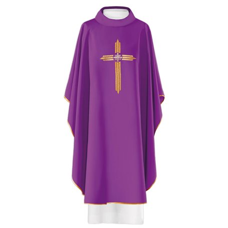 Chasuble with JHS Symbol and Gold Cross