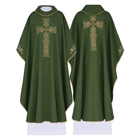 Chasuble in wool blend fabric with unique Cross design