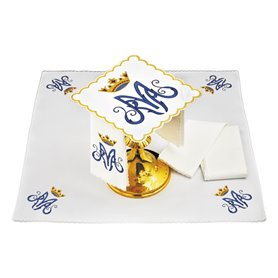 Mass Altar Linens set with Marian symbol design