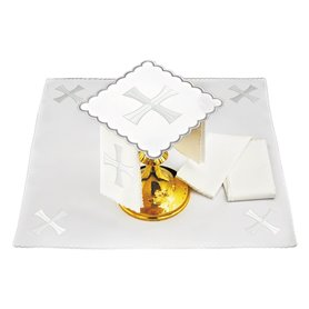 Mass Altar Linens set with Silver Cross design