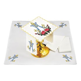 Mass Altar Linens set with Marian design & roses