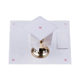 Mass Altar Linens set with small red Cross 100% Linen