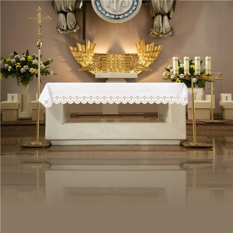 Altar Tablecloth with JHS & Cross symbol design