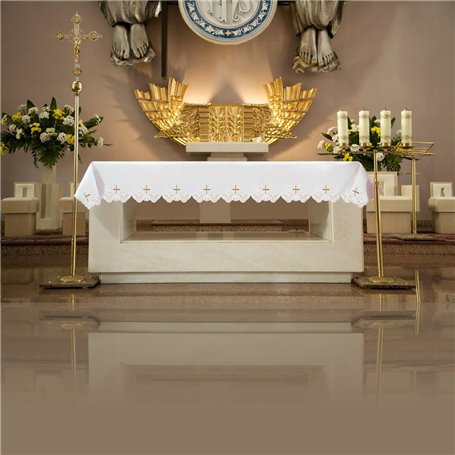 Altar Tablecloth with Cross & JHS symbol design