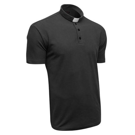 Black Clerical Polo Shirt 100% Cotton Short Sleeve - Lacoste - Classic Fit