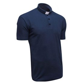 Navy Blue Clerical Polo Shirt 100% Cotton Short Sleeve - Lacoste - Classic Fit