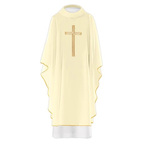 Chasuble Vestment with Gold Cross symbol design