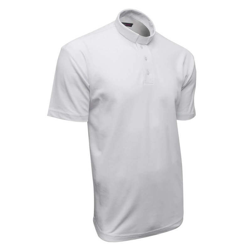 white clergy polo shirt with long sleeve 100% cotton