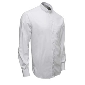 White Clerical Shirt 80% Cotton Long Sleeve - Fil-A-Fil - Classic Fit