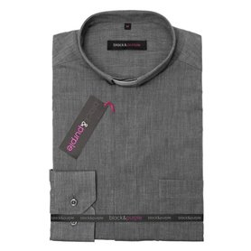 Grey Clerical Shirt 80% Cotton Long Sleeve - Fil-A-Fil - Classic Fit