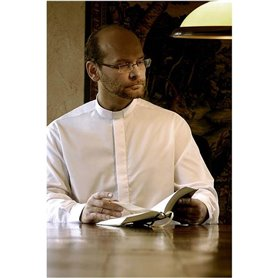 White Clerical Shirt 55% Cotton Long Sleeve- Poplin - Classic Fit
