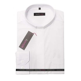 Short Sleeve White Clerical Shirt 55% Cotton - Poplin - Classic Fit