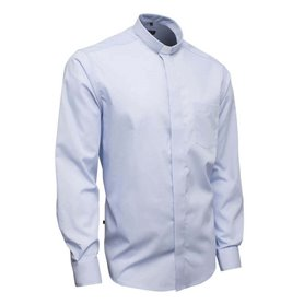 Light Blue Clerical Shirt 55% Cotton Long Sleeve - Poplin - Classic Fit