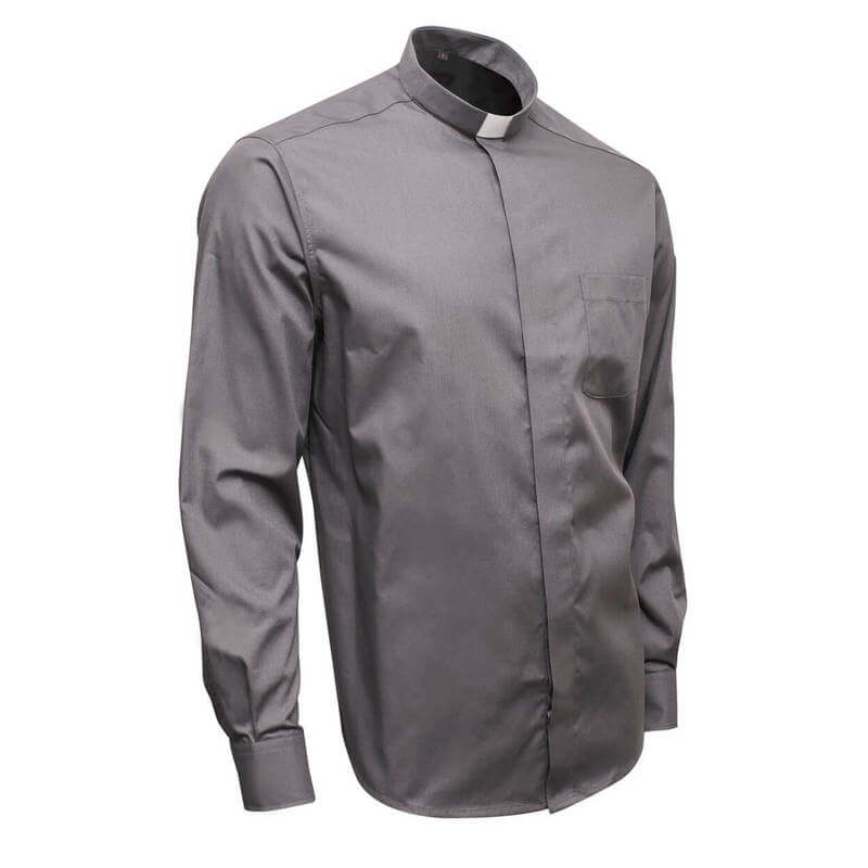 grey clergy shirt with long sleeve 55% cotton