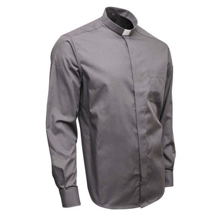 Grey Clerical Shirt 55% Cotton Long Sleeve - Poplin - Classic Fit