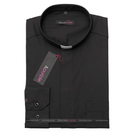 Short Sleeve Black Clerical Shirt 55% Cotton - Poplin - Classic Fit