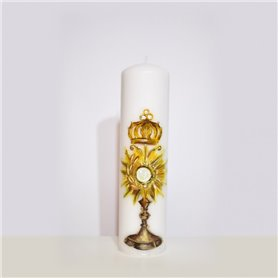 Hand Painted Traditional Altar Candle With Monstrance