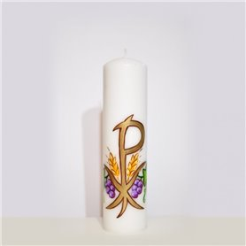 Hand Painted Traditional Altar Candle With PX & Grapevine Design