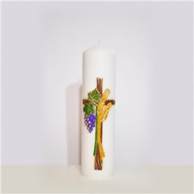 Hand Decorated Traditional Altar Candle With Cross & Grapevine