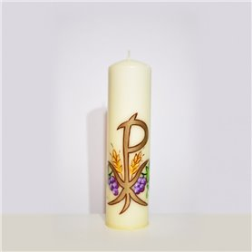 Hand Painted Beeswax Traditional Altar Candle With PX & Grapevine Design