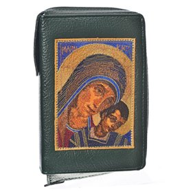 Leather Bible Cover In Green - Image Of Virgin Mary