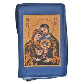 Leather Bible Cover In Blue - Image Of Holy Family