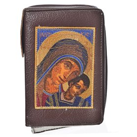 Leather Bible Cover In Brown - Image Of Virgin Mary