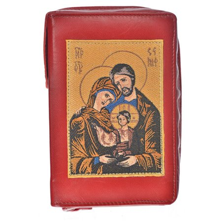 Leather Bible Cover In Red - Image Of Holy Family