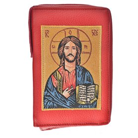 Leather Bible Cover In Red - Image Of Jesus Christ