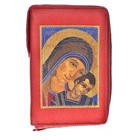 Leather Bible Cover In Red - Image Of Virgin Mary